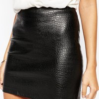 Warehouse Faux Leather Croc Mini Skirt