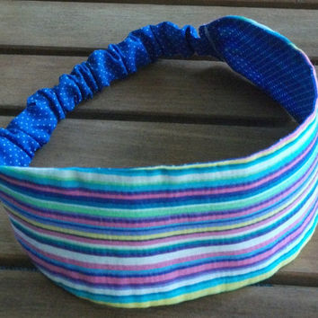 Wide Fabric Headband Reversible Blue and White Polka Dots / Multi Stripes Wrap Around 2 in 1