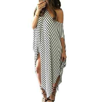Women Summer Dress Long Maxi Loose Dress Striped Batwing Sleeve Off shoulder Split Casual Vestidos