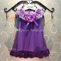 New Girls Children Sleeveless Pure Color Gauze Princess Dress 5 pcs/lot Kids Summer Girls Fashion Floral Collar Lace Dress