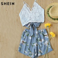 SHEIN 2 Piece Set Women Summer Boho Sleeveless Lace Panel Crisscross Bow Tie Back Halter Crop Cami Top With Floral Shorts