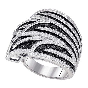 10kt White Gold Women's Round Black Color Enhanced Diamond Wide Fashion Band Ring 1-3/8 Cttw - FREE Shipping (US/CAN)