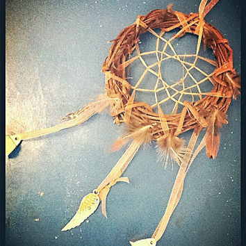 Native american dream catcher home decor chime for inside or out. Tribal dream catcher wreath. outside decor