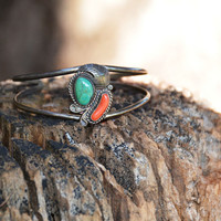 Vintage Blue Turquoise and Red Coral Cuff Bracelet // Vintage Southwestern Native American Jewelry, Sterling Silver Turquoise Cuff