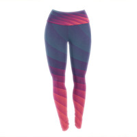 "Danny Ivan ""Reservoir Lines"" Pink Geometric Yoga Leggings"