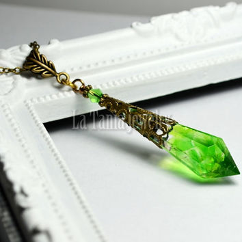 Olive Green Resin Crystal Icicle Necklace Yellow Green Glass Pendant Swarovski Bead Amulet,  Final Fantasy, Mana Potion Whimsical Jewelry