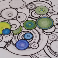 Adult Coloring Book Pages. Atomic Particle Rings (Collection #1)  by generative artist Kristin Henry. Inspired by Physics and Chemistry