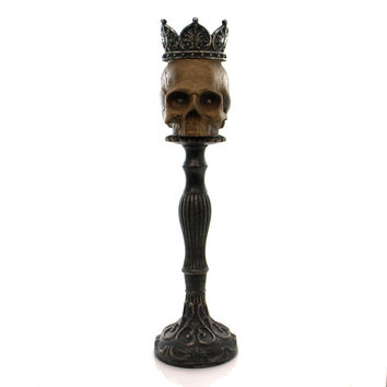 Halloween Lighted Skull Candle Holder Halloween Decor