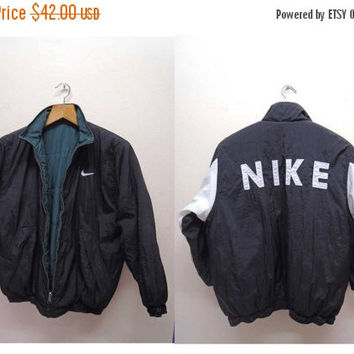 25% SALES ALERT Vintage 90's Nike Reversible Sweater Fully Zipper Sweater Bomber Jacket Puffy Jacket