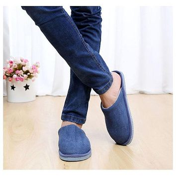 1Pair New Men Anti-slip Shoes Soft Warm House Indoor Slippers, EU 42-43, 44-45