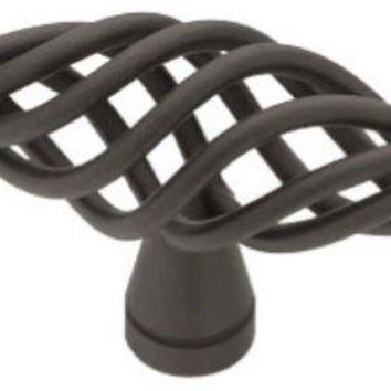 "Liberty Hardware P0528A-FB-C Large Birdcage Oval Knob, 2.5"", Flat Black"