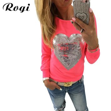 Rogi Fashion Sequined Women Sweatshirt 2017 Spring Long Sleeve Tracksuit Tops Casual Crew Neck Pullovers Camisetas Mujer 3XL