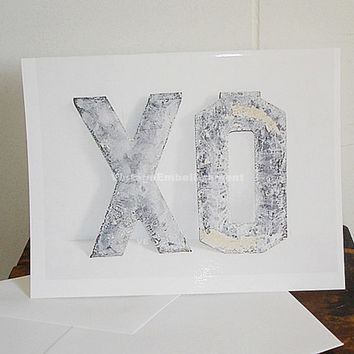 XO Note Card Hugs and Kisses Shop VintageEmbellishment
