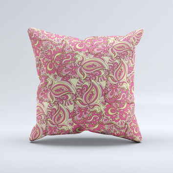 Yellow and Pink Paisley Floral ink-Fuzed Decorative Throw Pillow