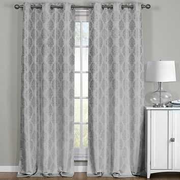 Gray 76x63 Paisley Thermal Blackout Grommet Curtain Panels (Set of 2)