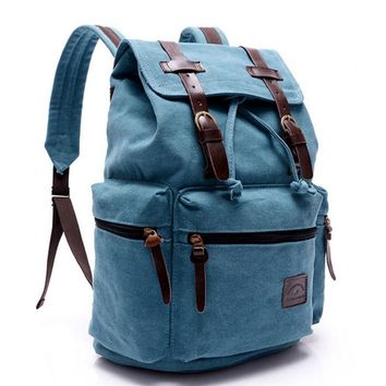 Vintage Retro Canvas Backpack Travel Casual Leather Bags for both Women and Men Bookbag for Teen Girls and Boys 4 color
