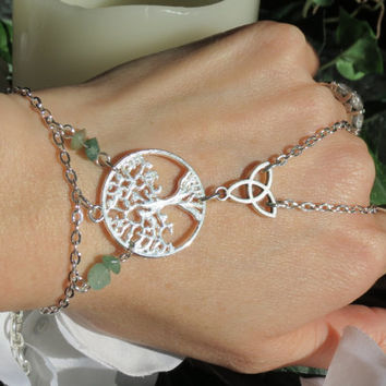 Sized Celtic Tree Slave Bracelet, Ring Bracelet, Tree of Life, Celtic Knot, Trinity, Gemstone, Silver plated, Hand Chain, Hand Jewelry, Adju