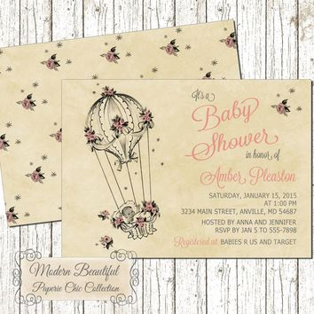 Baby Girl Shower invitation, vintage baby shower invitation, pink flowers girl baby shower invitation, vintage balloon invitation