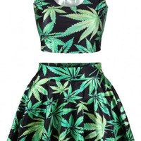 Green Leaf Print Sleeveless Cropped Top and Skater Skirt