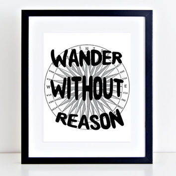 8x10 Printable Wall Art Wander without Reason quote print map art compass map print nursery inspiration typography print INSTANT DOWNLOAD