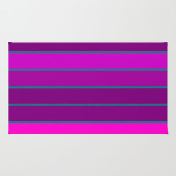 Fuchsia & Teal Stripes Area & Throw Rug by 2sweet4words Designs | Society6