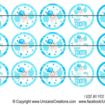 """I Lost My first Tooth Blue Bottle Cap Images 1"""" Circles Instant Download Digital Emailed 4x6"""