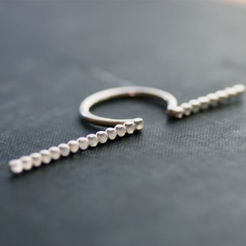 Asymmetrical Open Knuckle Ring - Sterling Silver - Beaded Texture