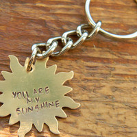 you are my sunshine hand stamped solid brass keyring