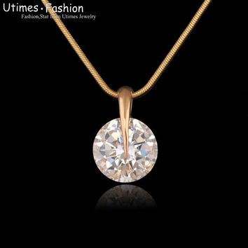 (Special Price)Single Round Stone Pendant Women 18k Gold Plated with Free Matching Chain