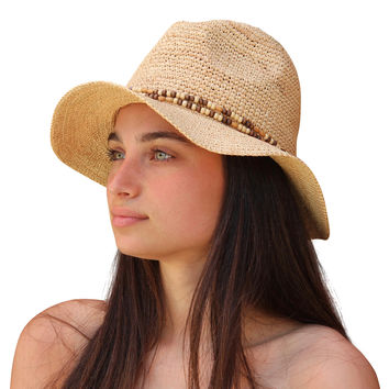 Palms & Sand Belize Women's Beaded Raffia Sun Hat (Natural)