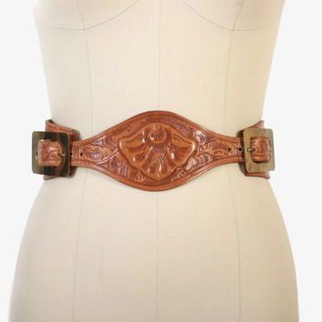Vintage 50s Western BELT / 1950s Golden Brown Wide Tooled Leather Double Brass Buckle Belt XS - S