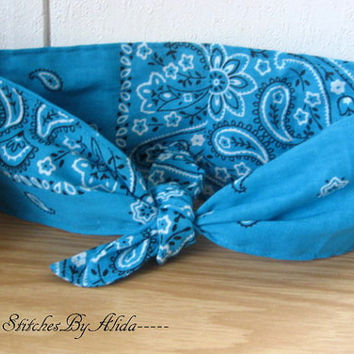 Hair Scarf, Bandana, Hair Bandana, Bandana Headband, Teal Hair Band, Hair Scarf, PinUp Bandana, Knotted HairBand, Boho Head Band #261