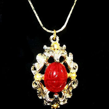 "Red Scarab Stone Pendant Necklace Gold Chain Signed Korea 16"" Vintage"