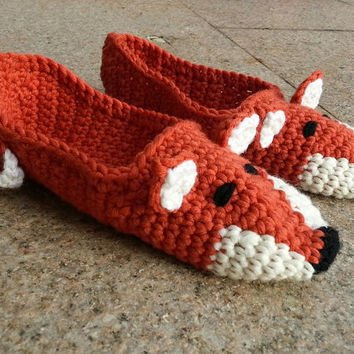 "Comfortable Crochet Slippers ""Fox"" - women's and kids sizes"