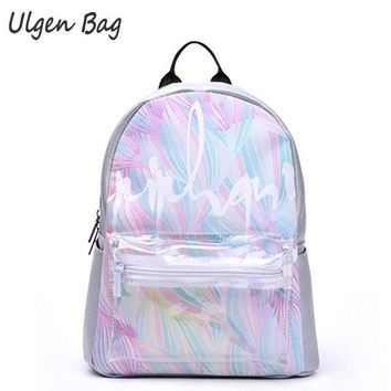 Clear Backpacks popular Fashion Women's Rainbow Colorful Hologram Backpacks Laser Silver Color Holographic Mirror Mini Shoulder Bags clear front pocket AT_62_4