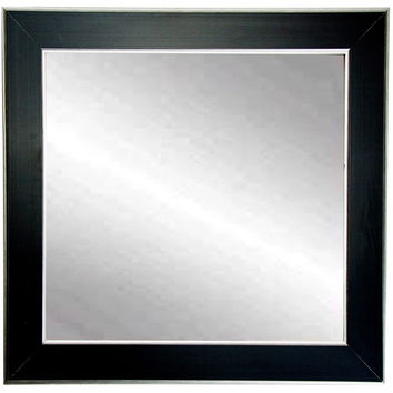 "Brandt Works Silver Accent Black Square Wall Mirror BM011SQ 32""x32"""