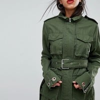 ASOS DESIGN double wrap belted khaki jacket at asos.com