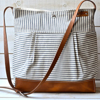 BEST SELLER  Messenger bag / Diaper bag STOCKHOLM Gray  geometric nautical striped  Leather / Ikabags Featured on The Martha Stewart