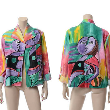 Vintage 80s Picasso Graphic Jacket 1980s 1990s Dilemma Woven Organic Cotton Op Art to Wear New Wave Hipster Blazer / One Size