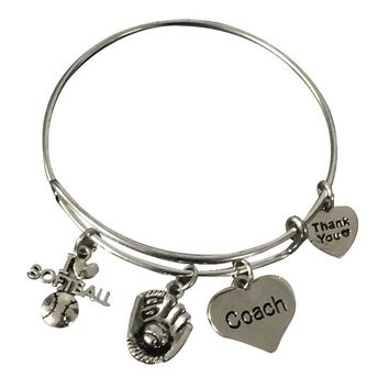 Softball Coach Bangle Bracelet