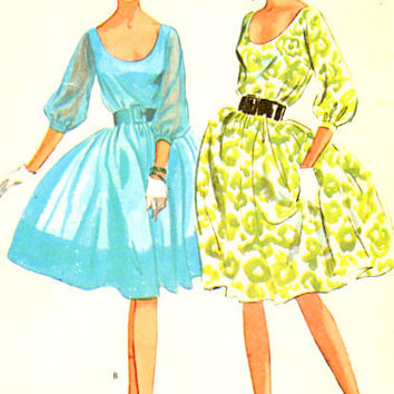 "1960s Misses Scooped Neck Dress with Full Skirt, Mad Men, Party Dress Vintage Sewing Pattern, McCall's 7196 bust 34"" uncut"