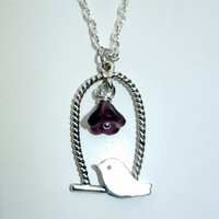 Bird Charm Necklace with Flower Detail