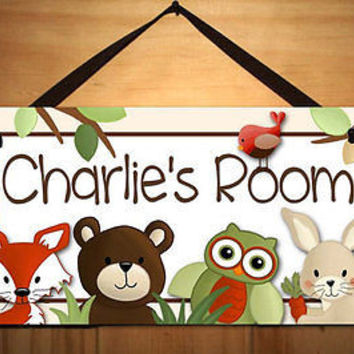 Kids Door Sign Woodland Forest Critters Bedroom Nursery Personalized Name DS0242