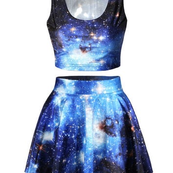 Galaxy Print Two-Piece Dress
