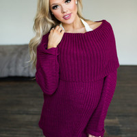 Double The Beauty Oversized Sweater Berry