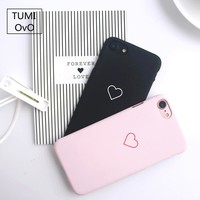 For iPhone X Case Scrub Pink Heart Love Shell Phone hard PC Slim Fit Full Protective Cover for iPhone 6 6s 7 Plus 8 Plus Cases