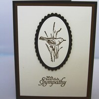 Brown Bird With Heartfelt Sympathy Hand Made Thinking of You Card