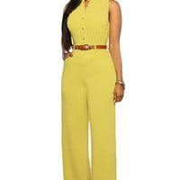 Yellow Belted Wide Leg Jumpsuit