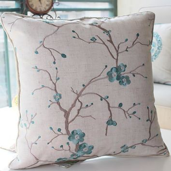 New Chinese Style Embroidered Cushion Set Back Cushion Pillow Bedside Back Cushion Protect Back Shallow Pillow Lan