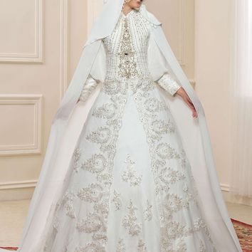 Gorgeous Lace Applique Long Sleeve Muslim Wedding Dresses Hijab High Neck Vintage Dubai Bridal Gown With Cloak Kaftan Brautkleid